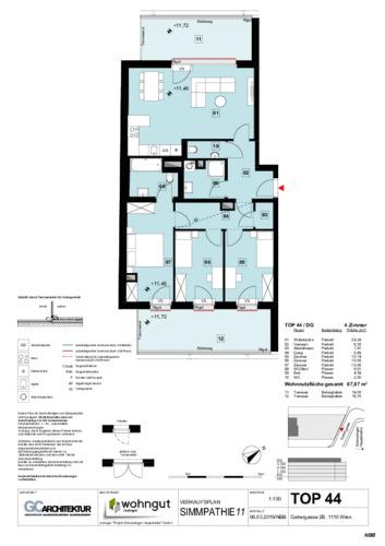 1_Verkaufsplan der Wohnung TOP 44_NBB